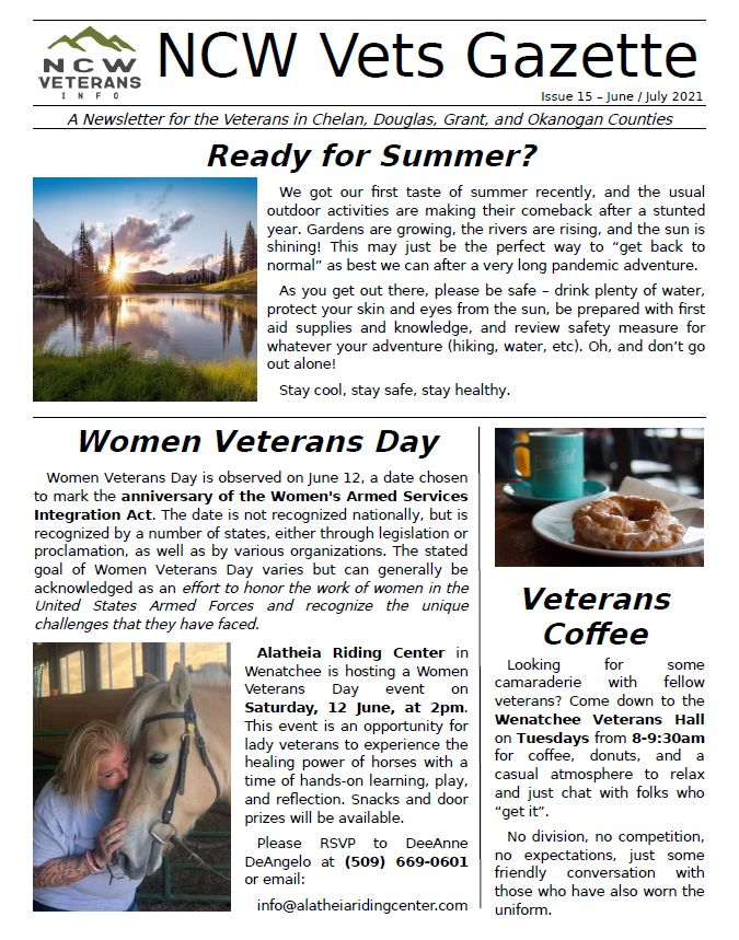 cover of most recent issue of the Vets Gazette newsletter